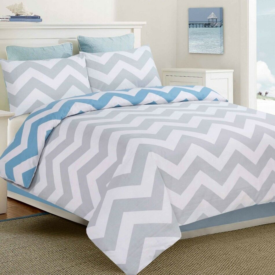 Apartmento Ottavio Blue White Grey Chevron King Size Bed