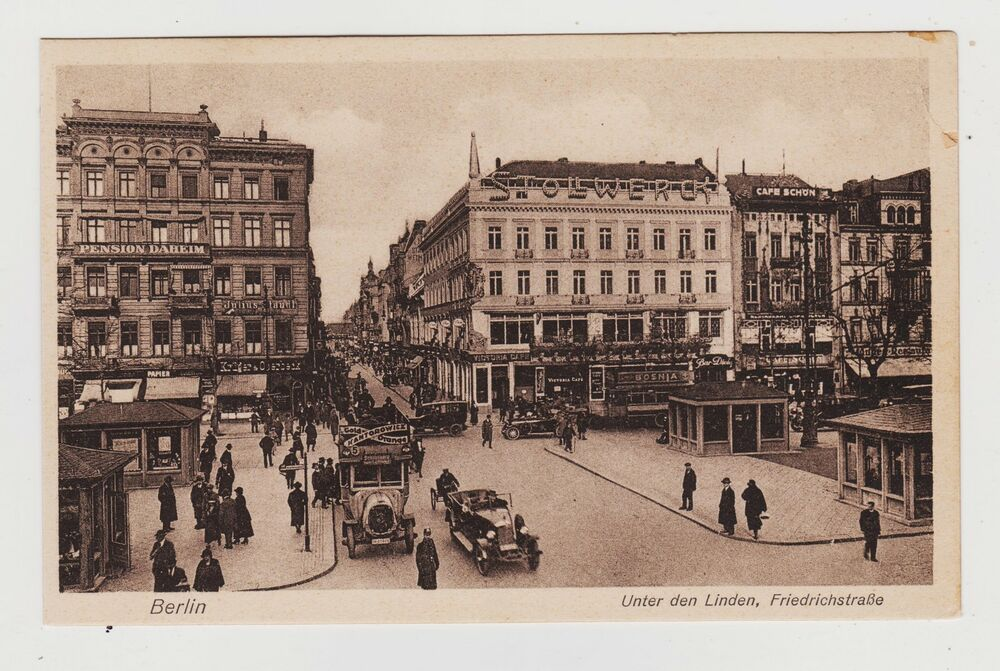 berlin germany unter den linden friedrichstrasse vintage cars 1927 ebay. Black Bedroom Furniture Sets. Home Design Ideas