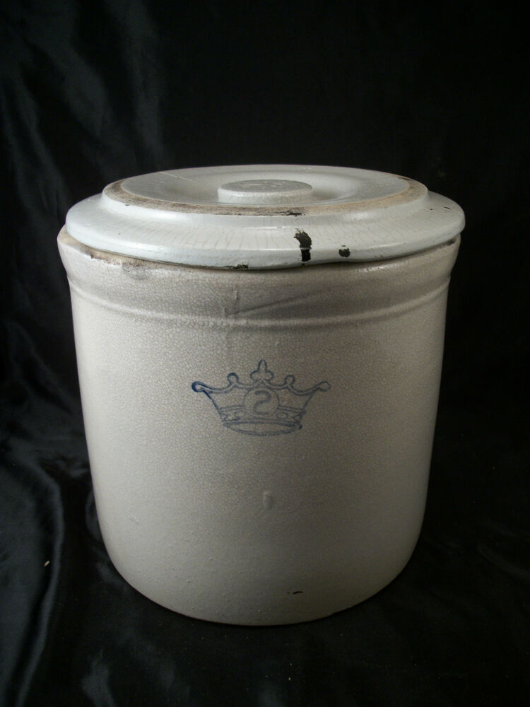 Crock Lid Storage Flower Pot Decoration Vintage Primitive