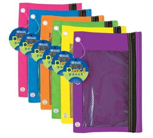 Wholesale Lot 24 Pc Zippered Pencil Case Pouch 3 Ring