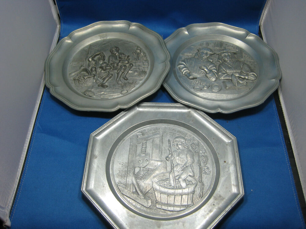 Pewter Plate Hallmark Chart England: Lot Of 3 Antique German Embossed Pewter Deco Plates