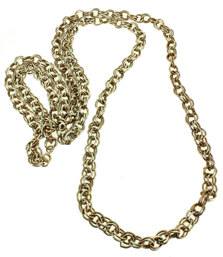 vintage double link gold tone 8mm thick very long chain. Black Bedroom Furniture Sets. Home Design Ideas