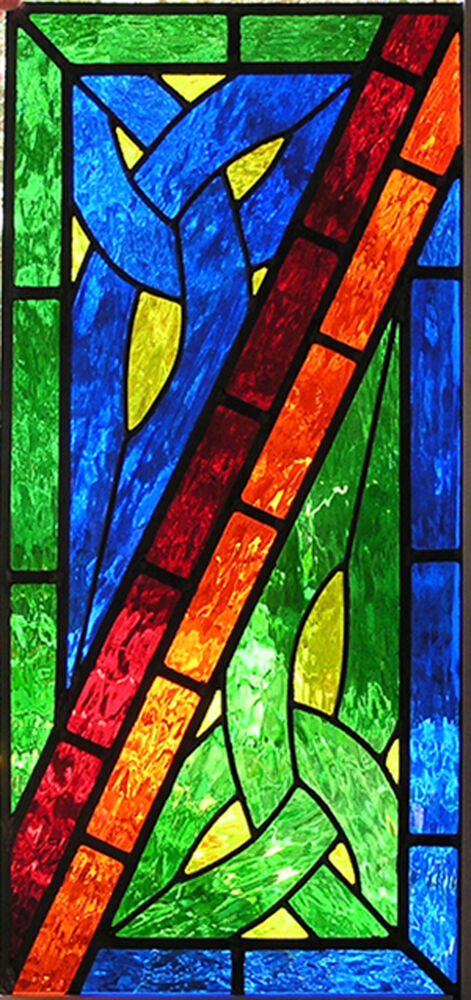 CELTIC CORNERS STAINED GLASS PANEL | eBay
