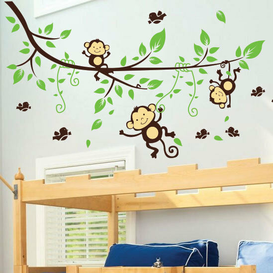 monkey tree birds animal nursery children art wall stickers wall decals ebay. Black Bedroom Furniture Sets. Home Design Ideas