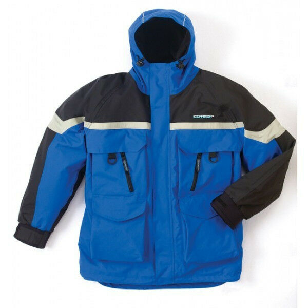 New clam ice armor edge cold weather parka blue medium for Ice fishing bibs and jacket