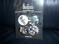 THE BEATLES OFFICIAL BADGE SET 4 X BADGES - PINS APPLE CORPS BRAND NEW FAB!
