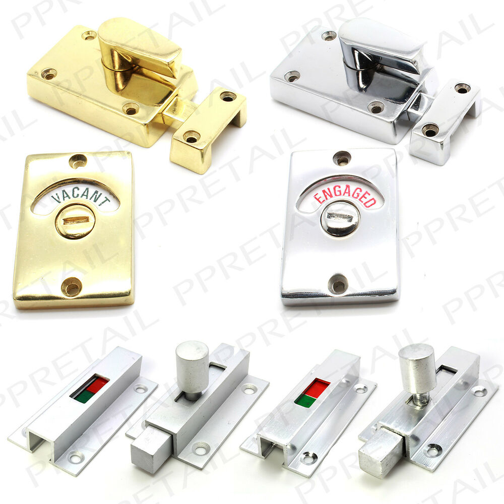 Vacant Engaged Bathroom Door Lock Chrome Brass Silver
