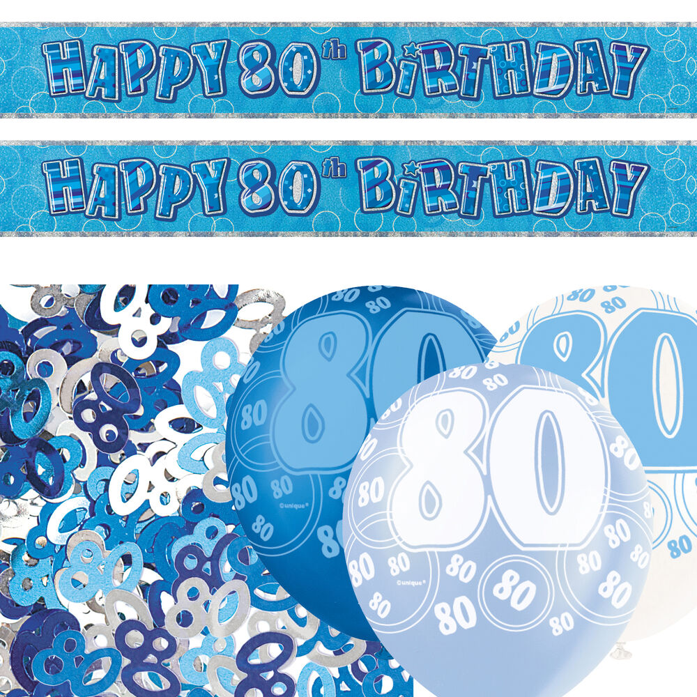 Blue Silver Glitz 80th Birthday Banner Balloon Party Decoration Pack