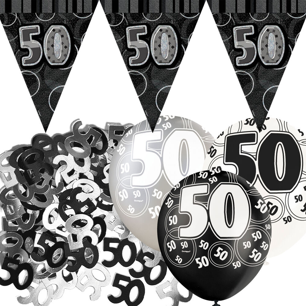 Black silver glitz 50th birthday flag banner party for 50th birthday decoration packs