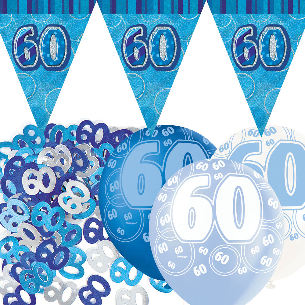 Blue silver glitz 60th birthday flag banner party for 60 birthday decoration party