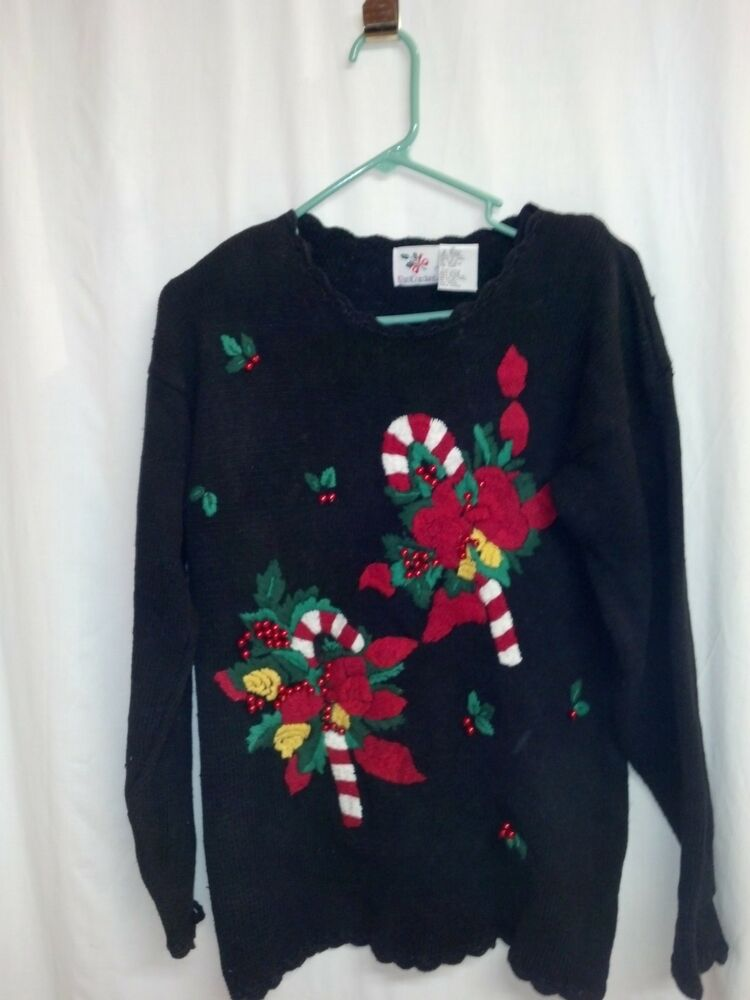 Ugly christmas party sweater candy cane nutcracker small crew neck vtg