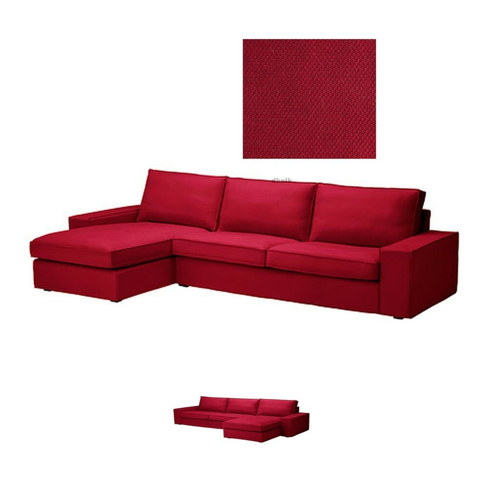 Ikea Kivik Loveseat Sofa W Chaise Longe Lounge Slipcover Cover Dansbo Medium Red Ebay