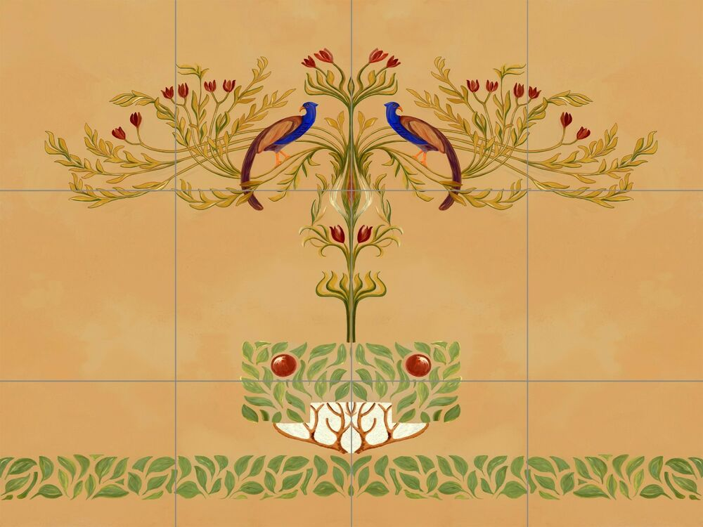 Peacock tole mural kitchen ceramic tile back splash for Art nouveau tile mural