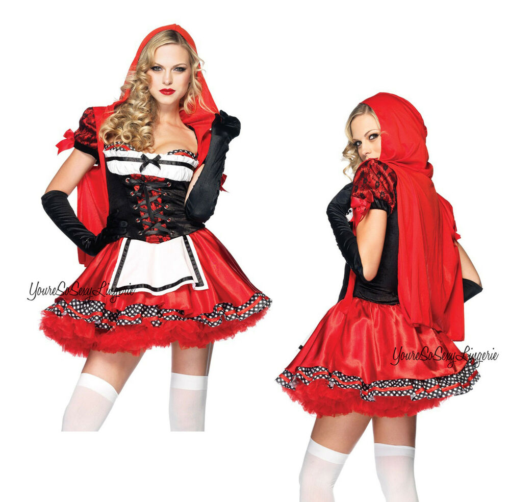 Once Upon A Time Costumes: LITTLE RED RIDING HOOD Costume CORSET MINI DRESS Apron