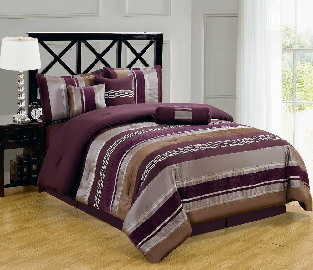 luxury california king size 7pc claudia purple comforter set ebay