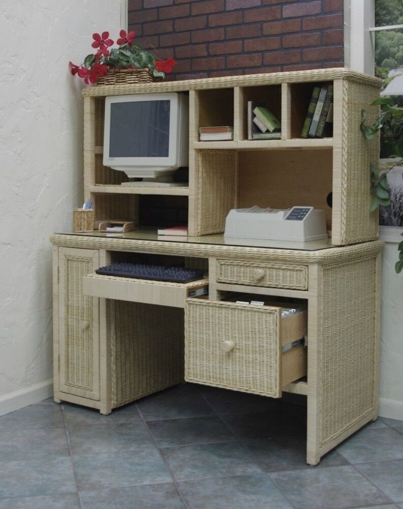 Executive Wicker Computer Work Desk Desk Only Natural