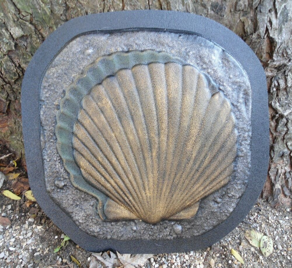 Gostatue sq seashell stepping stone mold plastic mold for Garden pond moulds