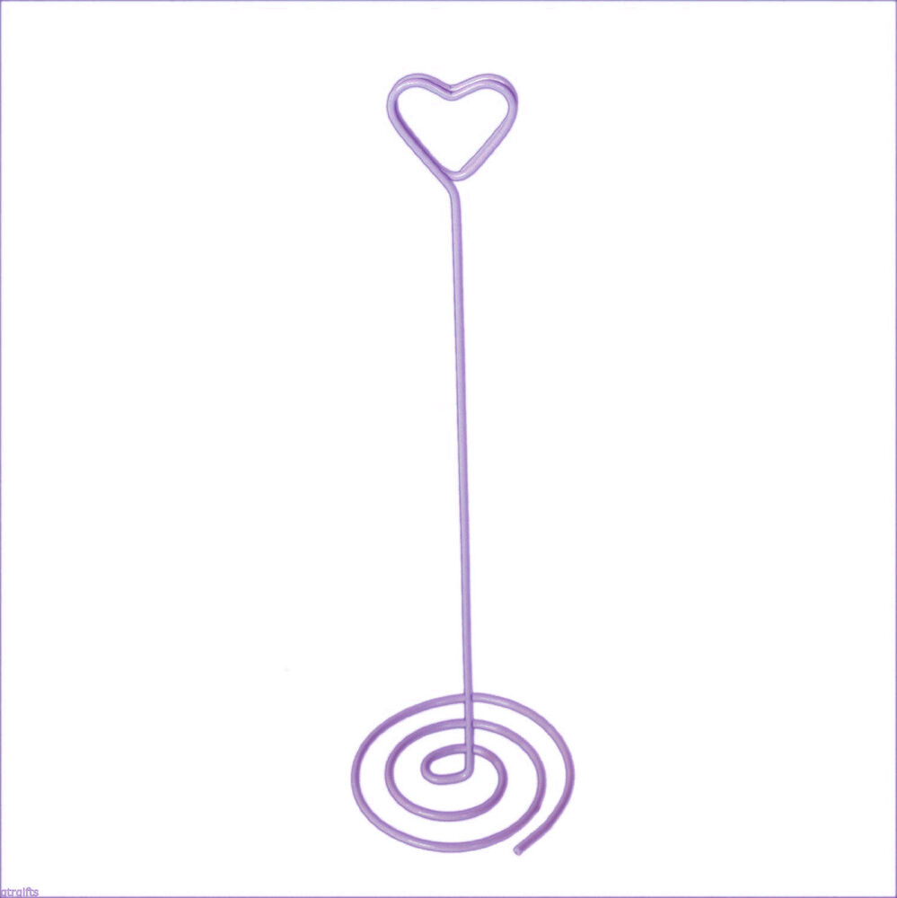 Purple heart spiral wedding table number holders pack of for Table number holders