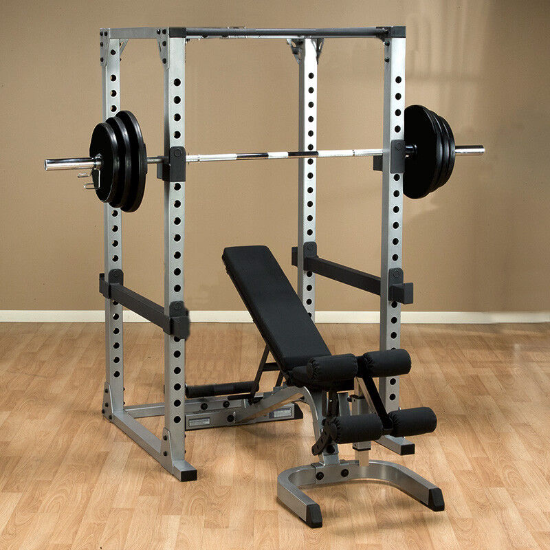 Home Gym Bench Set: Body Solid GPR378 Power Rack W/ Bench, 500lb Weight Set