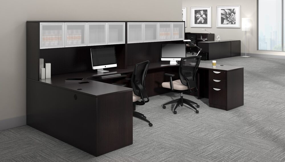 2 person contemporary laminate workstation office desk in espresso finish ebay - Two person office desk ...