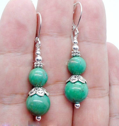 new fashion handmade green turquoise gemstone sterling