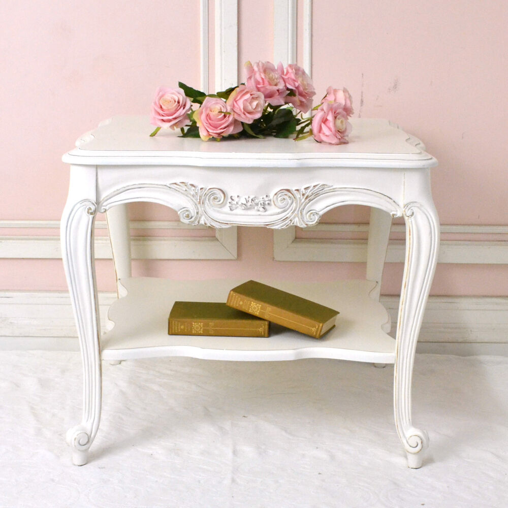 shabby cottage chic vintage french style end side table white roses romantic ebay. Black Bedroom Furniture Sets. Home Design Ideas