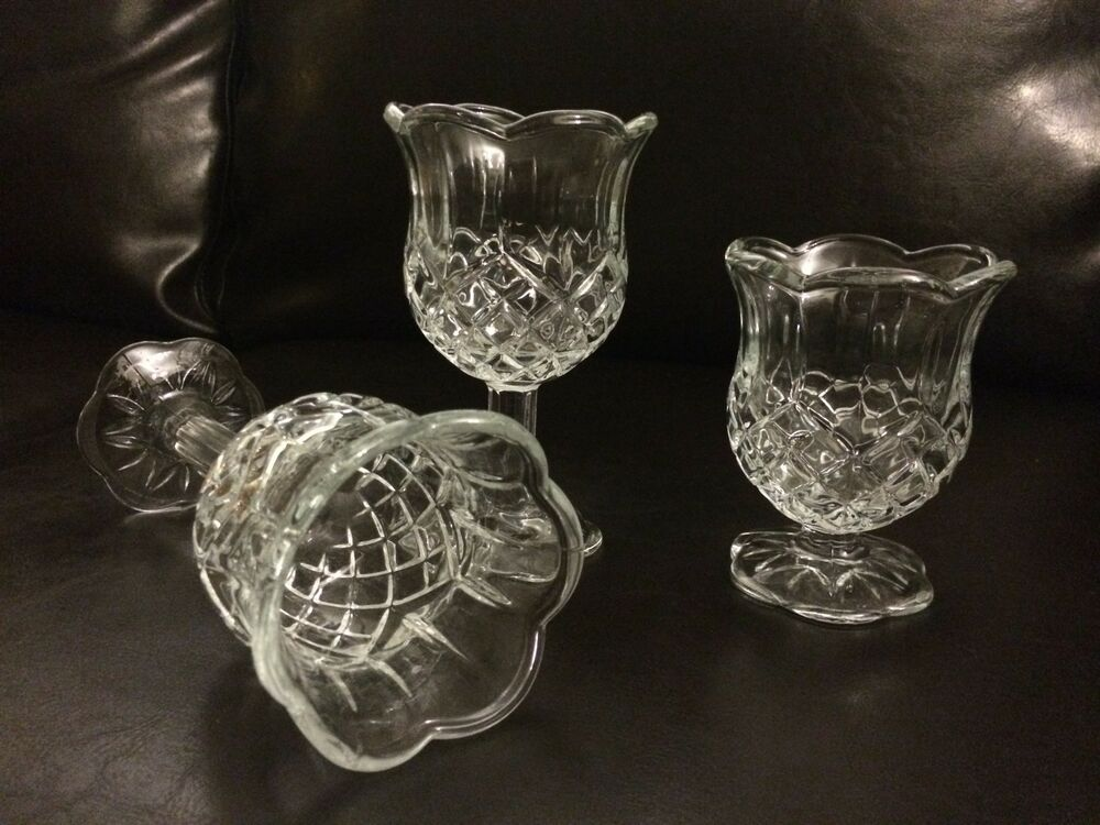 3 Homco Home Interiors Clear Glass Diamond Pattern Footed