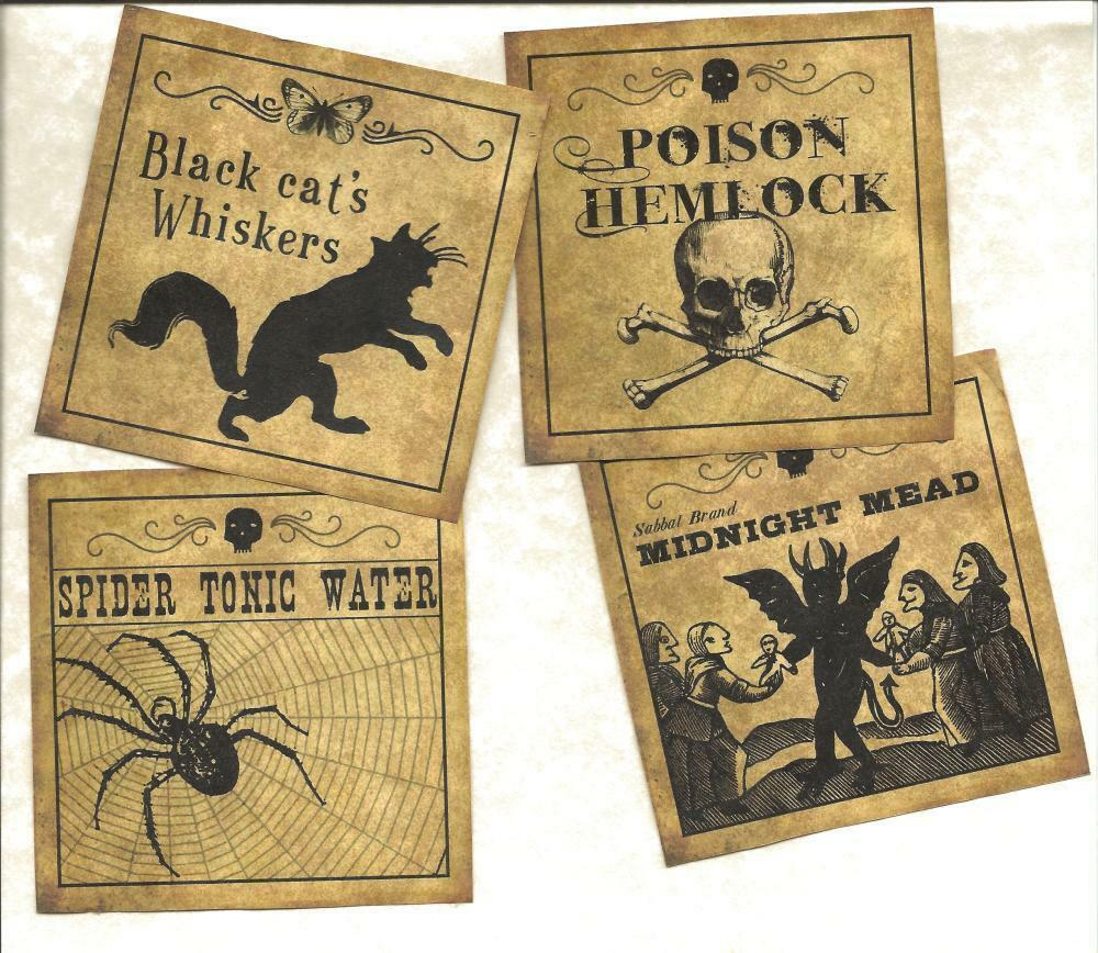 lot of 12 vintage look labels halloween set 8 primitive. Black Bedroom Furniture Sets. Home Design Ideas