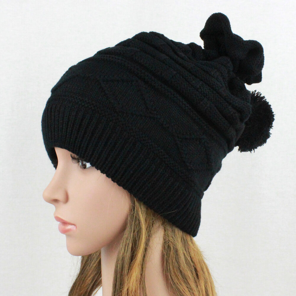 womens 2 in 1 baggy knit beanie winter hat ski cap skull