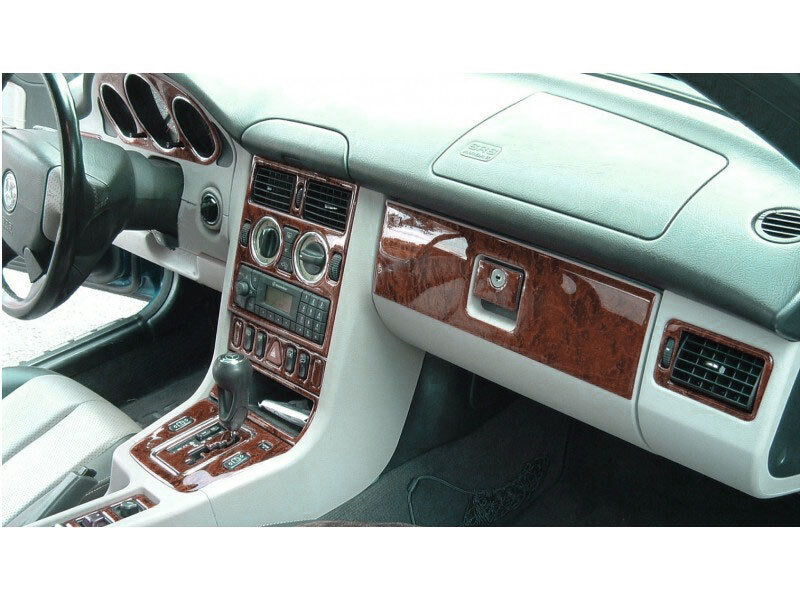 wood dash trim kit premium 17 pcs fits mercedes benz slk 1998 2004 ebay. Black Bedroom Furniture Sets. Home Design Ideas