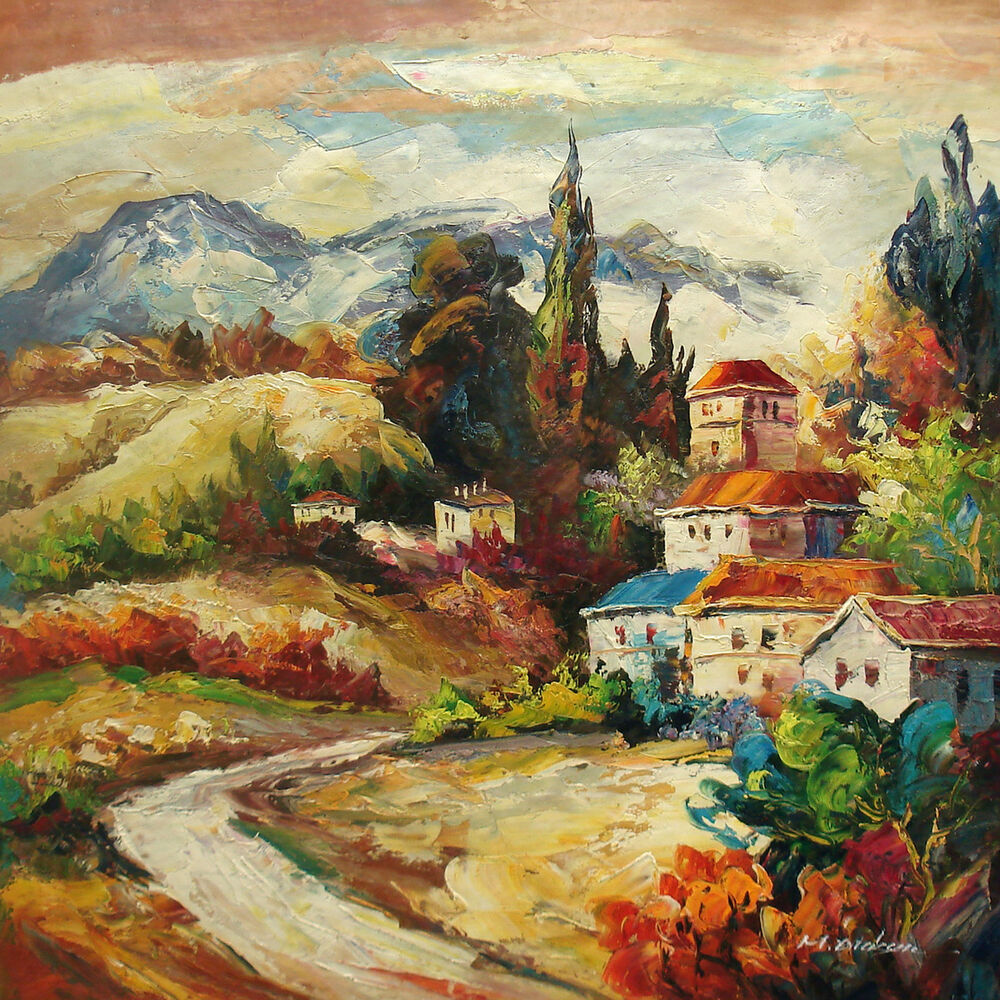 Beautiful large oil painting of landscape road to house on for Oil paintings for the home