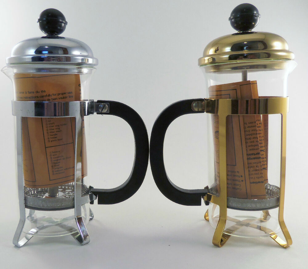 Gold French Press Coffee Maker : French Press Coffee Tea Maker 350cc 3 cup 12 oz. Silver OR Gold # T217 NOS eBay