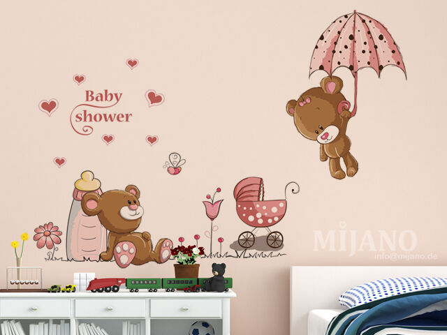 wandtattoo wandsticker wandaufkleber baby b r b rchen bear kinderzimmer cartoon ebay. Black Bedroom Furniture Sets. Home Design Ideas