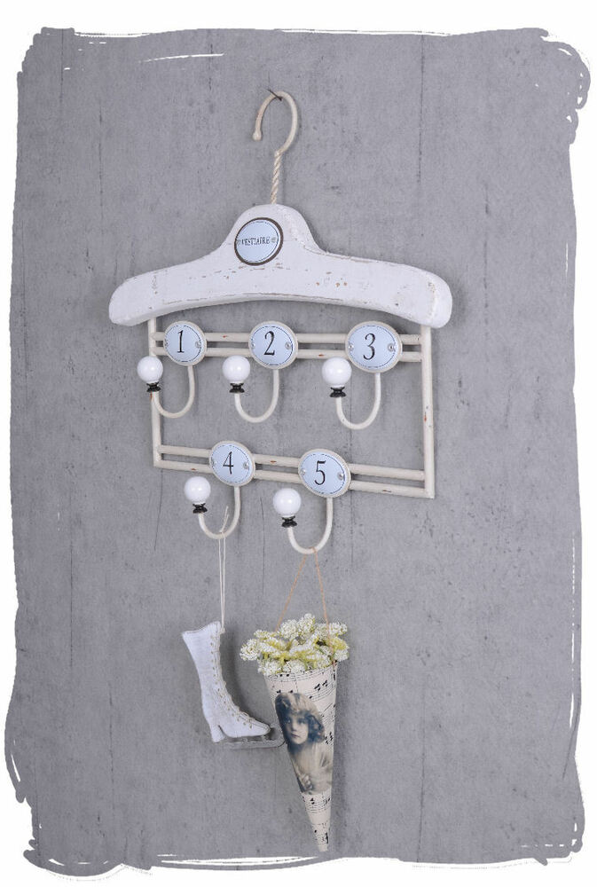 hakenleiste shabby chic wandgarderobe kleiderhaken handtuchhalter weiss ebay. Black Bedroom Furniture Sets. Home Design Ideas