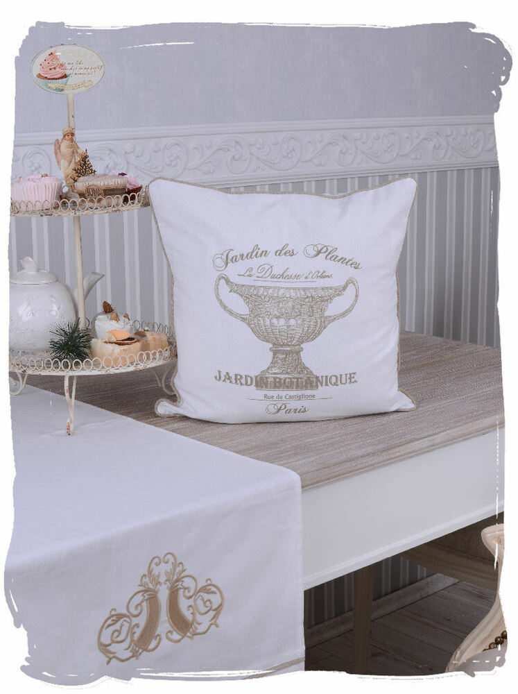 nostalgie kissenbezug jardin botanique paris kissen weiss shabby chic ebay. Black Bedroom Furniture Sets. Home Design Ideas