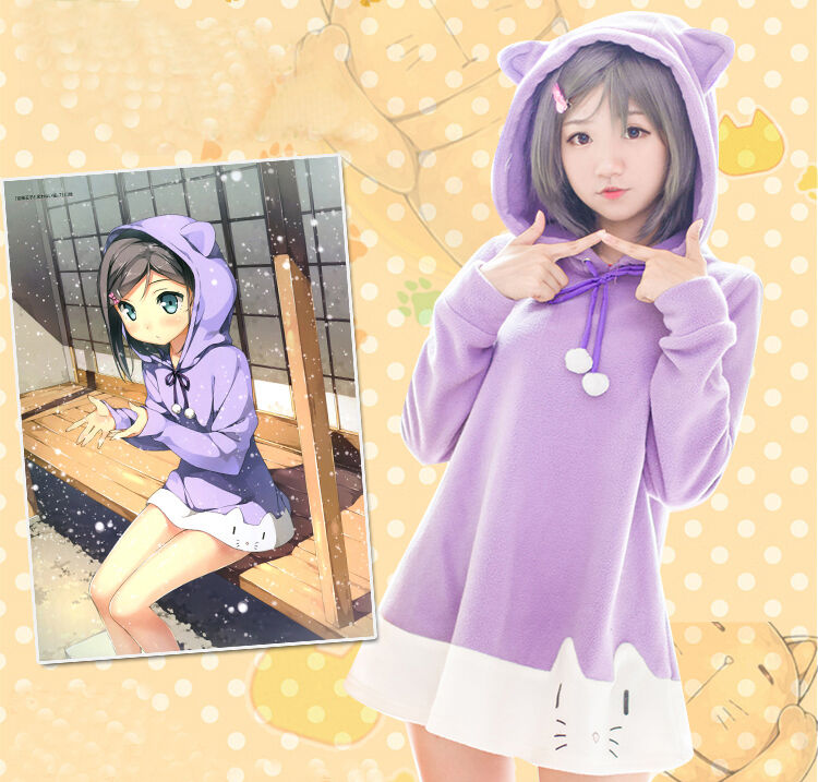 Girl's Purple Lovely Cat Ear Hoodie Dress Tops Daily ...