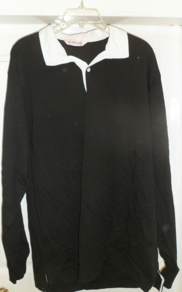 Mens 38 R Black Raffinatti Cutaway Jacket Tuxedo Morning: NEW MENS RUGBY SHIRT BLACK WHITE COLLAR SIZE SMALL 38