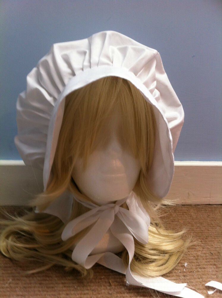 Victorian Edwardian Adult Baby Fancy Dress White Bonnet