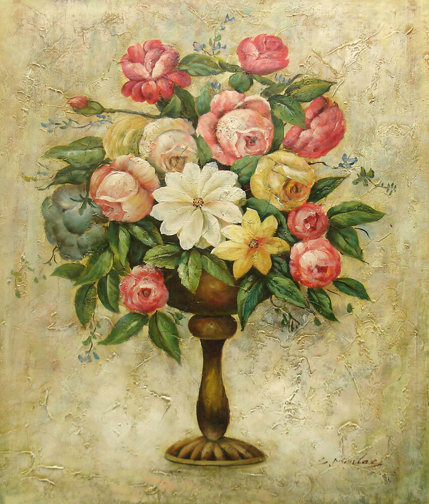 Oil Painting of Still Life Flowers in Antique Stone Vase ...