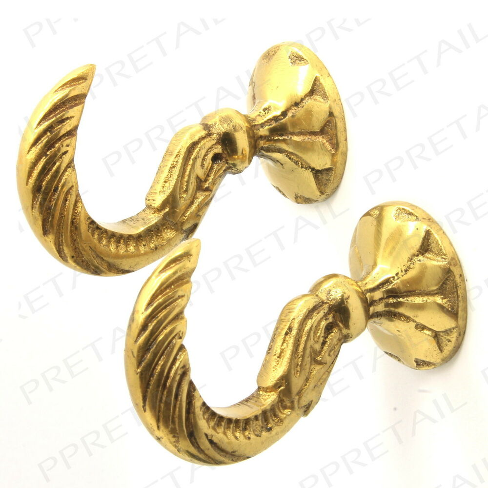 2 x LARGE Egyptian CURTAIN TIE BACK HOOKS ★SOLID BRASS ...