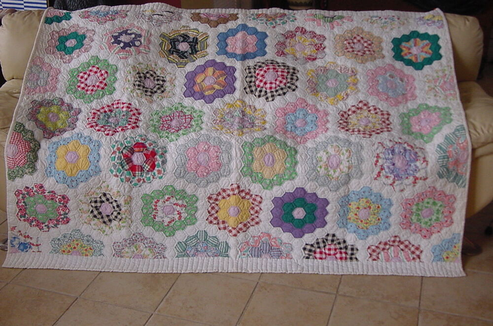 Americas Antiques Classic Grandmothers Flower Garden Quilt Clean Ready To Use Ebay