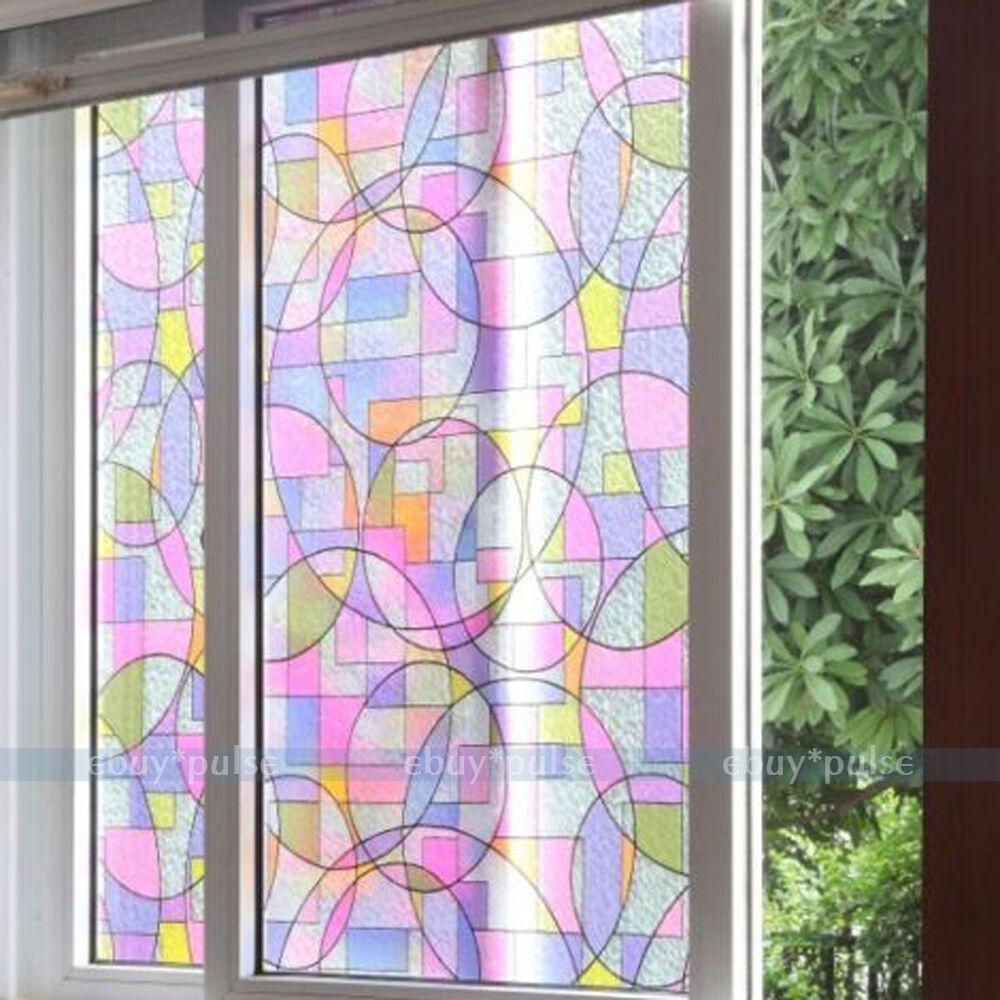 Removable Stained Glass Window Film Decorative Home Office