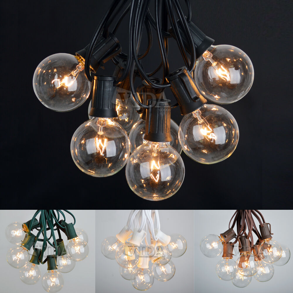 G50 Clear Globe String Lights : 100 Foot Outdoor Globe Patio String Lights - Set of 125 G50/G40/G30 Clear Bulbs eBay