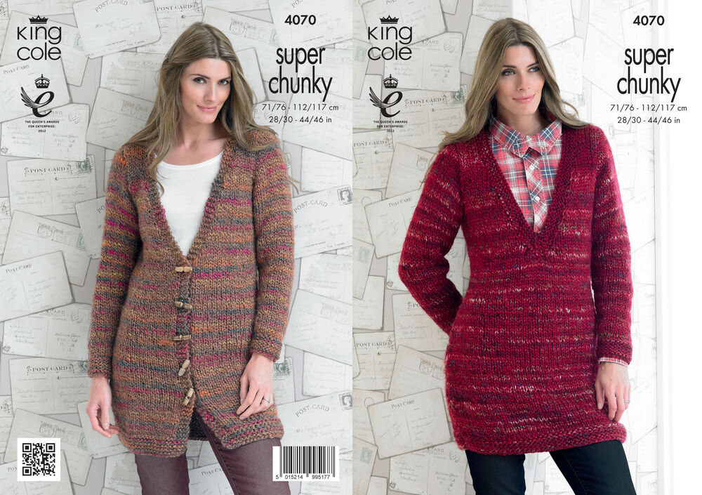 Knitting Pattern Ladies V Neck Jumper : King Cole Ladies Gypsy Super Chunky Knitting Pattern V Neck Jacket Sweater 40...