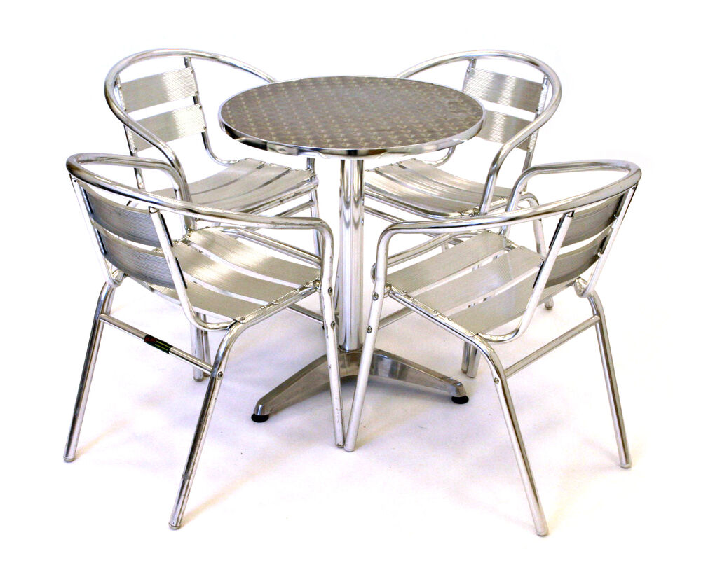 aluminium bistro furniture aluminium bistro set cheap garden furniture ebay. Black Bedroom Furniture Sets. Home Design Ideas