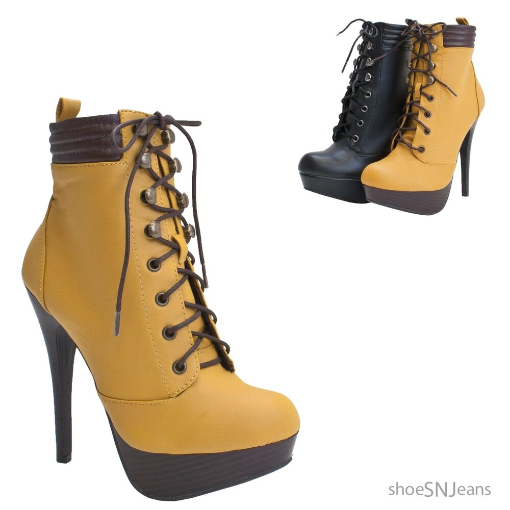 high heel lace up booties platform stiletto padded