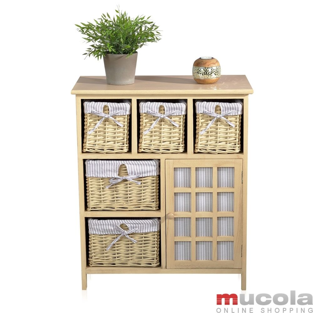 landhaus kommode mit 5 k rben braun wei sideboard schrank aus holz k chen regal ebay. Black Bedroom Furniture Sets. Home Design Ideas