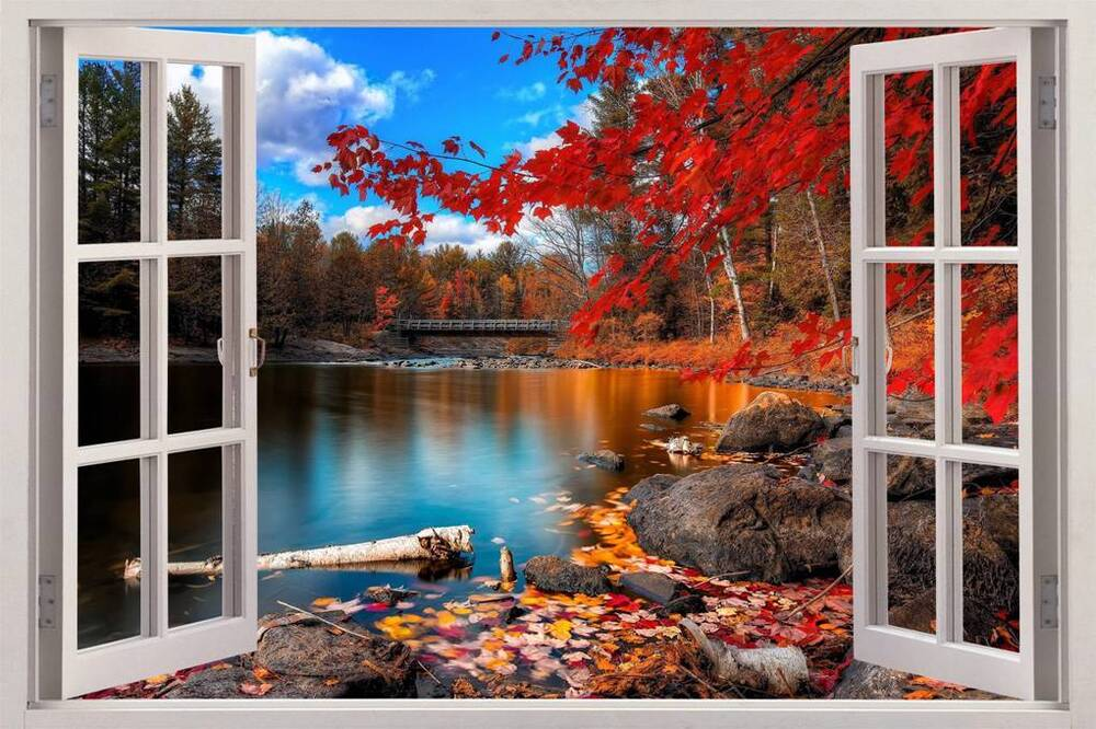 Autumn lakeside 3d window view decal wall sticker decor for Decor mural wall art
