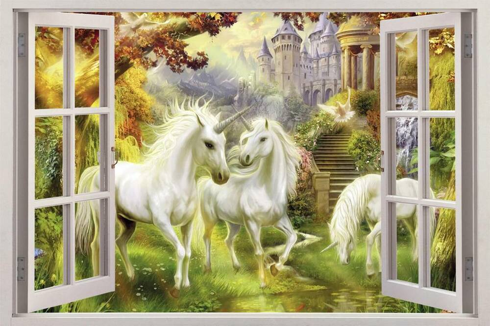 Unicorn garden 3d window view decal wall sticker home - Watch over the garden wall online free ...
