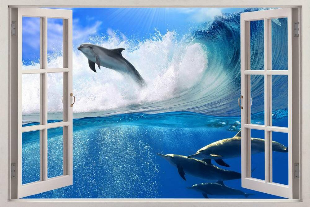Surfing dolphins 3d window view decal wall sticker art for Beach mural for wall